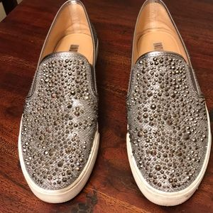 Studded silver slip ons